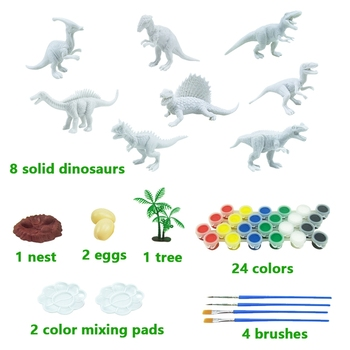 43ШТ DIY Painted Dinosaur White Blank Model Hand Painting Dinosaur Graffiti Game Pad Set