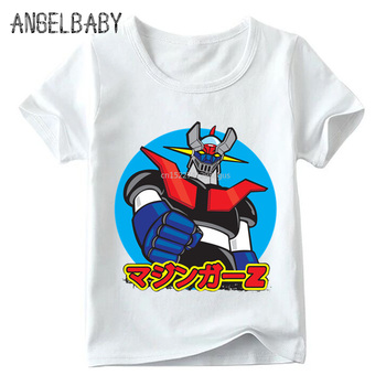 Baby Boys/Girls Japan Comic Mazinger Z Retro Print T shirt Summer Children Cartoon Tops Kids Funny T-shirt