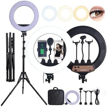Fosoto 18 Inch Photographic lighting Bi-color Led Ring Light 80W Ringlight lampa ze statywem mikrofonu aparatu w telefonie