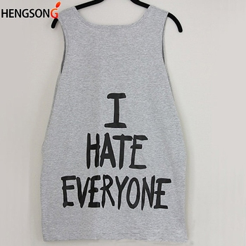Hengsong 2018 New Fashion Women ' s Tank Tops Black Grey White Letter Printed Round Neck Casual Sleeveless Vest 738273
