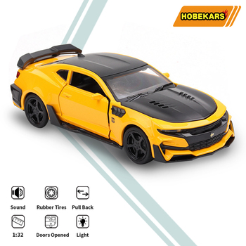 HOBEKARS 1:32 Diecasts Toy Vehicles Camaro Simulation Metal Alloy Model Sport Car With Pull Back Sound And Light For Collection