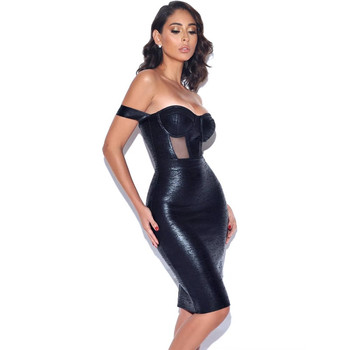 Lato Nowość Srebrny Czarny Бандажное Sukienka Sexy Off Shouder Woman Bodycon Dress Vintage Vestios Wholesale Tight Dress Mini Woman