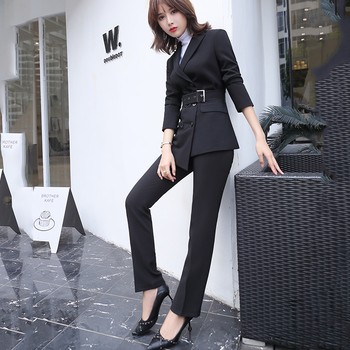 Lenshin Highquality 2 Piece Suit Set Red Women Pant Suits Business Office Lady Work Wear formalny marynarka z paskami