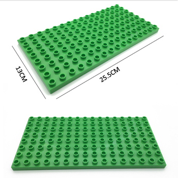 Marumine 8x16 Dots Duplo Baseplate Bricks 4PCS/Lot Building Blocks Plate Parts Construction DIY Education Toys For Kids