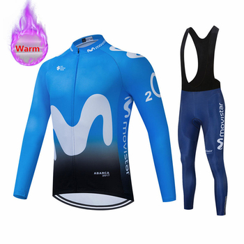 Movistar Clothing Winter Cycling Clothing Long Sleeve Clothing Riding Jersey Set Thermal Fleece Maillot Ropa Ciclismo Keep Warm