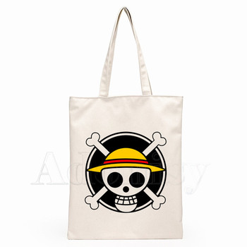 One Piece Luffy Japanese Anime Women Female Foldable Canvas Canvas Tote Eco Shopping Bag Canvas Tote Casual Torba Codziennego Użytku
