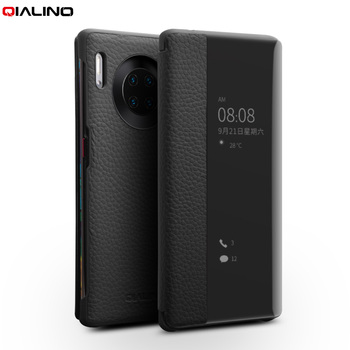 QIALINO Fashion naturalna skórzane etui do Huawei Mate 30 Pro Business Ultra Slim Smart View Phone Cover for P30 P40 Pro+Plus